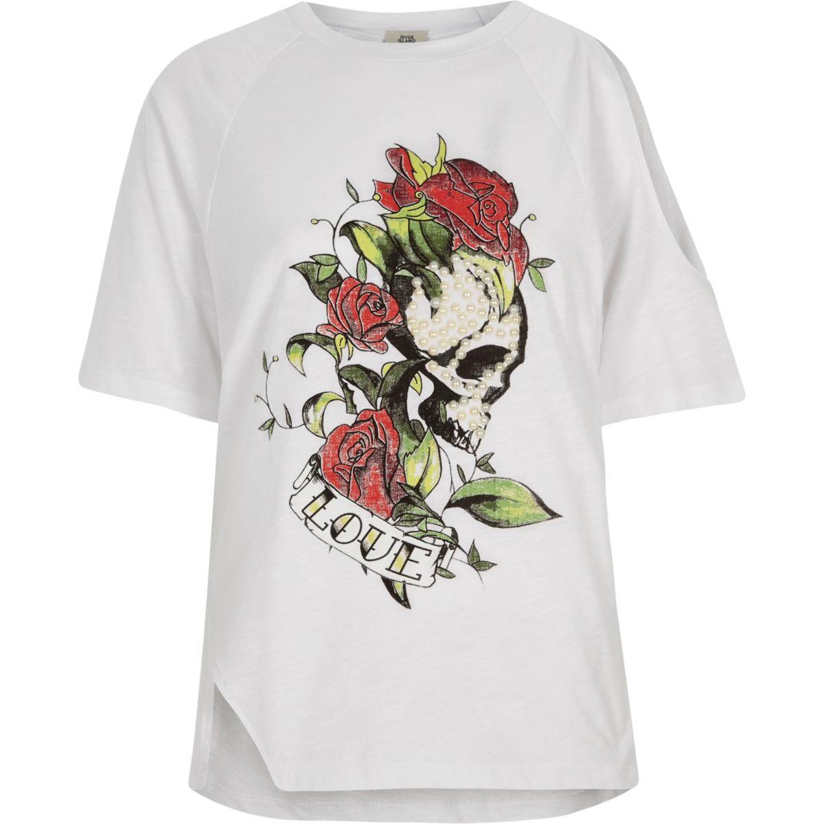 White skull print asymmetric shoulder T-shirt