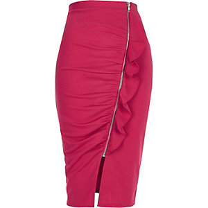 Pink ruched asymmetric zip front pencil skirt
