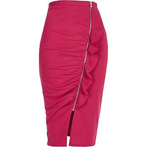 Jupe crayon effet froncé rose coupe asymétrique zippée sur le devant