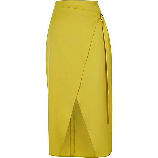 Yellow D-ring tie side wrap midi skirt