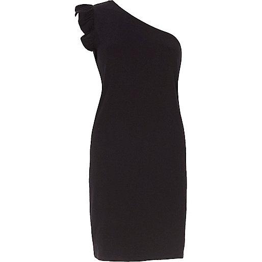 Black frill one shoulder longline top