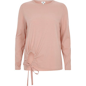 Light beige keyhole front long sleeve top