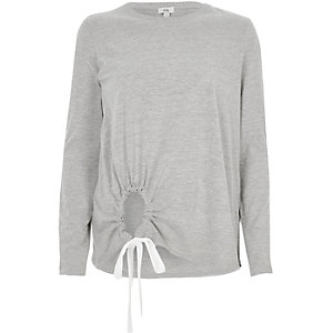 Grey keyhole front long sleeve top