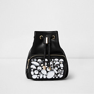 Black gem embellished mini backpack