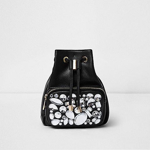 Mini sac à dos noir orné de pierres
