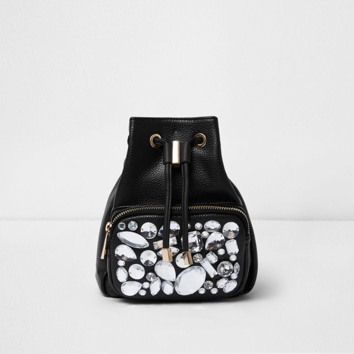Black gem embellished mini backpack