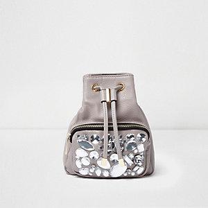 Mini sac à dos gris orné de pierres