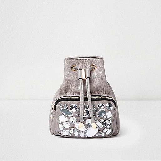 Grey gem embellished mini backpack