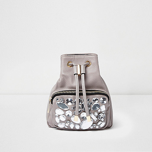 Grey gem embellished mini backpack