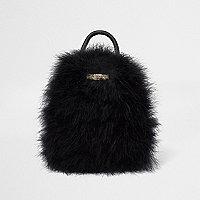 Black feather mini backpack