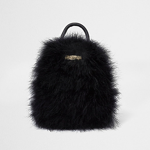 Black feather mini backpack