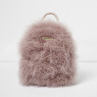 Pink feather mini backpack