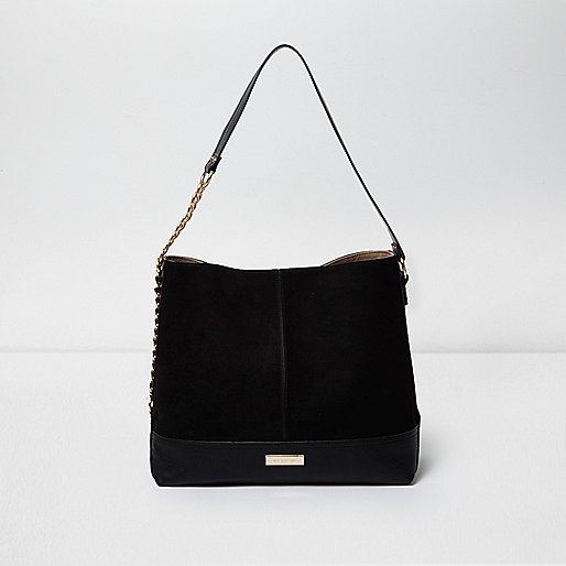Black chain side slouch bag