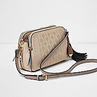 Beige studded tassel cross body bag