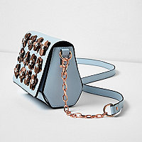 Light blue 3D flower cross body chain bag