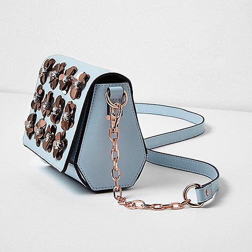 Light blue 3D flower cross body chain bag