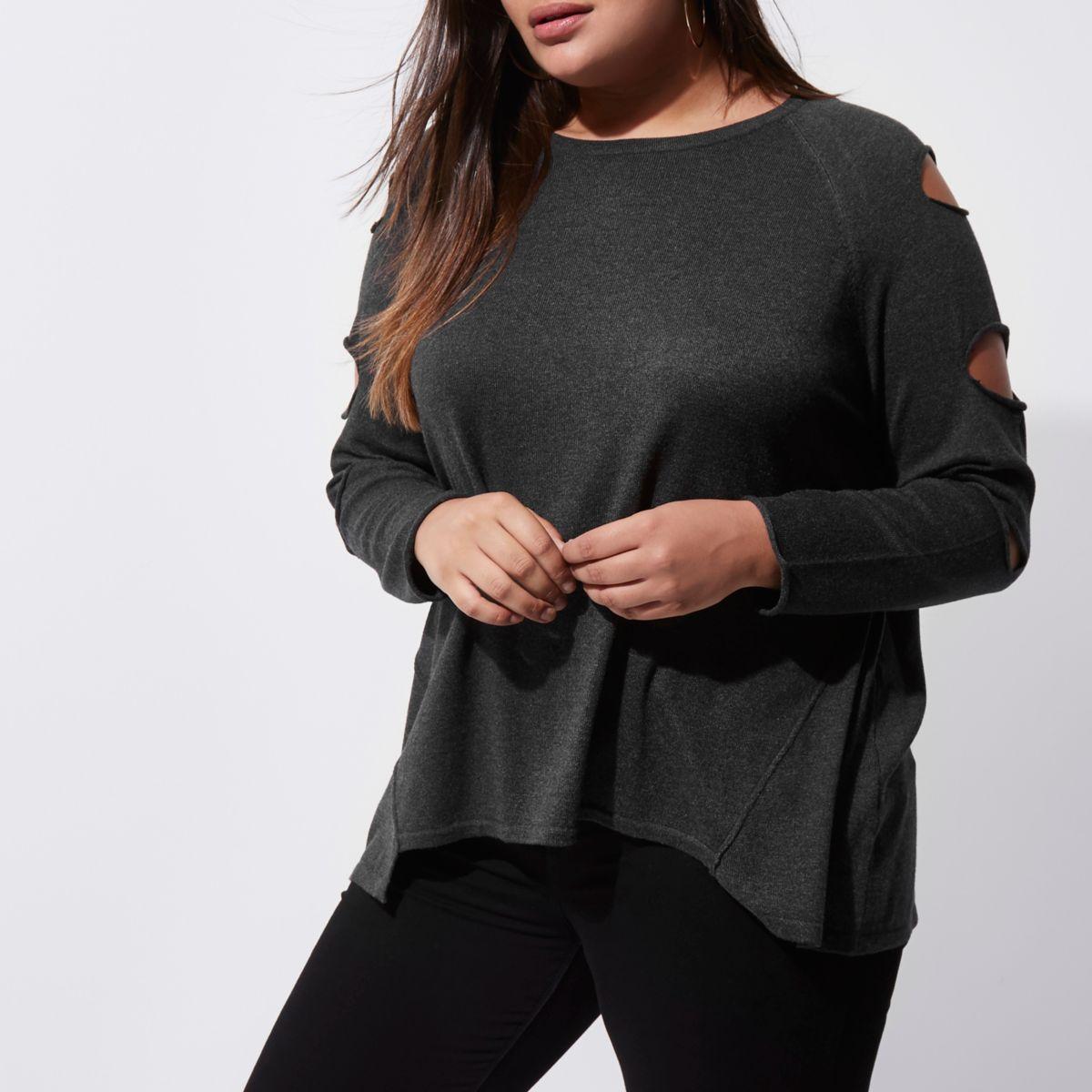 Plus dark grey slash sleeve sweater