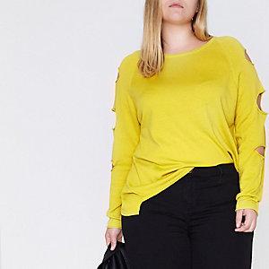 Plus – Limettengrüner Pullover mit geschlitzten Ärmeln
