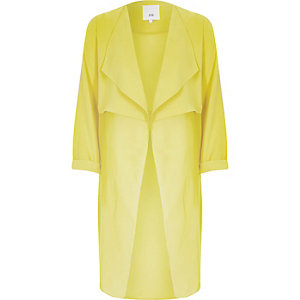 Yellow sheer detail duster jacket