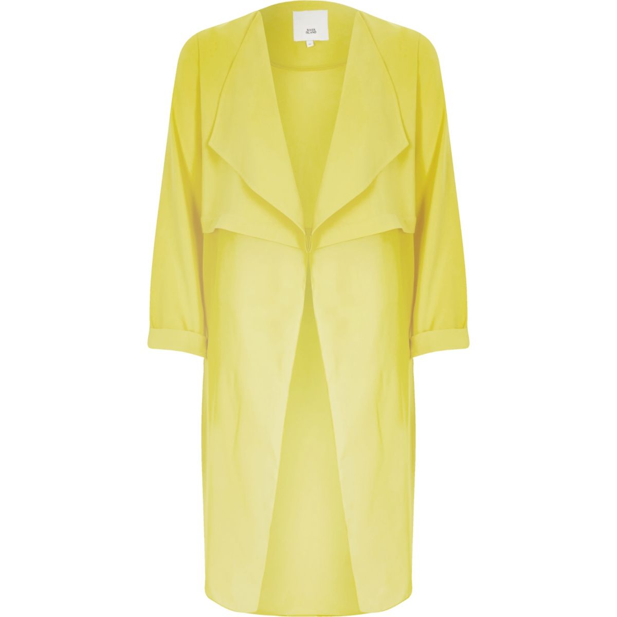 Yellow sheer detail duster jacket