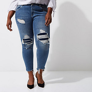 RI Plus - Alannah - Blauwe gescheurde relaxte skinny jeans