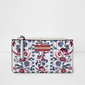 Witte smalle uitvouwbare portemonnee met bloemenprint