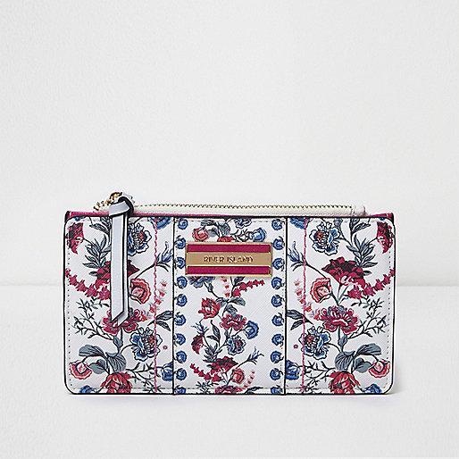White floral print slim foldout purse