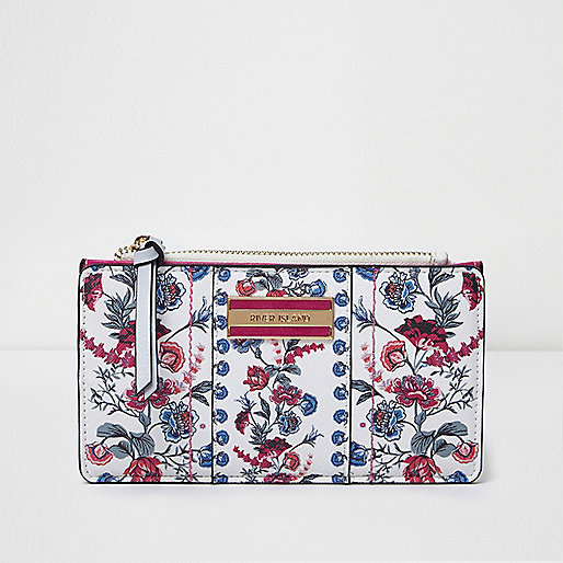 White floral print slim foldout purse