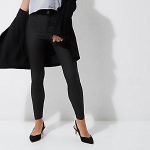 Petite – Molly – Schwarze, beschichtete Skinny Jeans