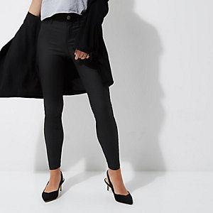 Petite black coated Molly skinny jeggings