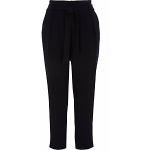 Navy tie waist tapered trousers
