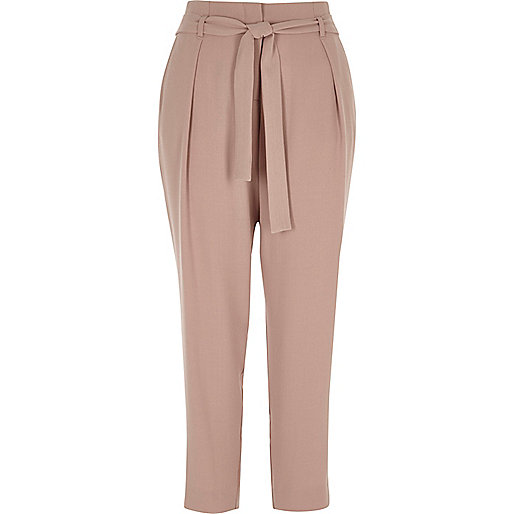 Pink tapered tie waist pants