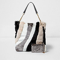 Beige mixed faux fur slouch chain bag
