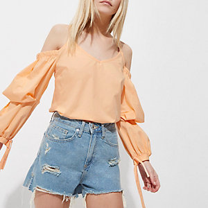 Petite orange puff sleeve cold shoulder top