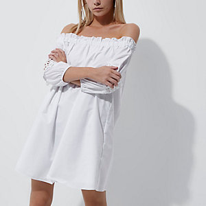 Petite white bardot crochet sleeve mini dress