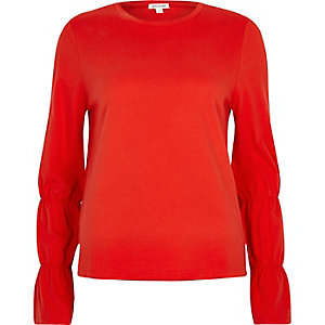 Red long elasticated sleeve T-shirt