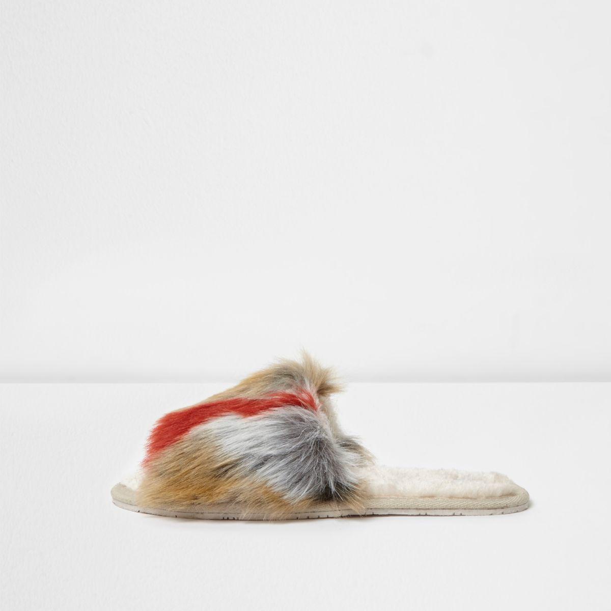 Beige multi coloured fluffy slider slippers