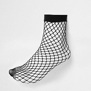 Schwarze Fischnetz-Sneakersocken