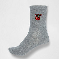 Grey cherry ankle socks