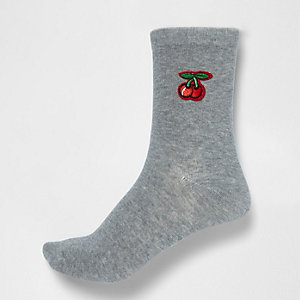 Grey cherry patch ankle socks