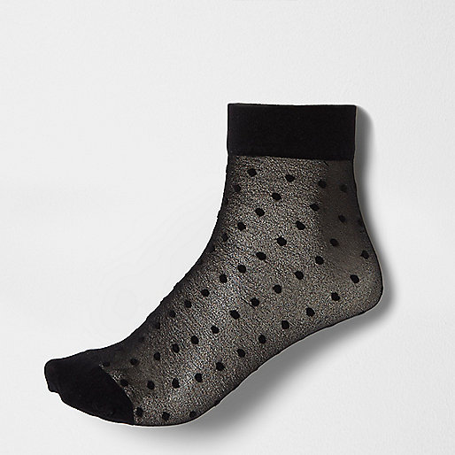 Black polka dot sheer ankle socks
