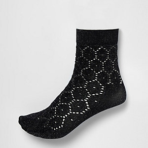 Zwarte gehaakte sokken met glitter