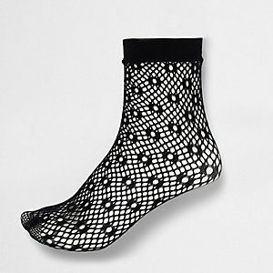 Black lattice fishnet ankle socks