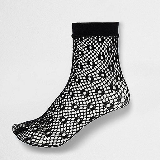 Black lattice fishnet ankle socks