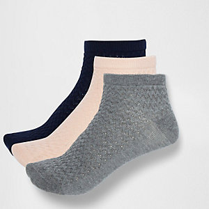 Navy, pink and grey sneaker socks pack