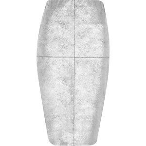 Zilverkleurige imitatiesuède kokerrok met panelen