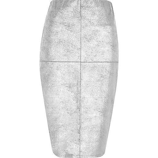 Silver faux suede panel pencil skirt