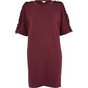Purple frill sleeve oversized T-shirt