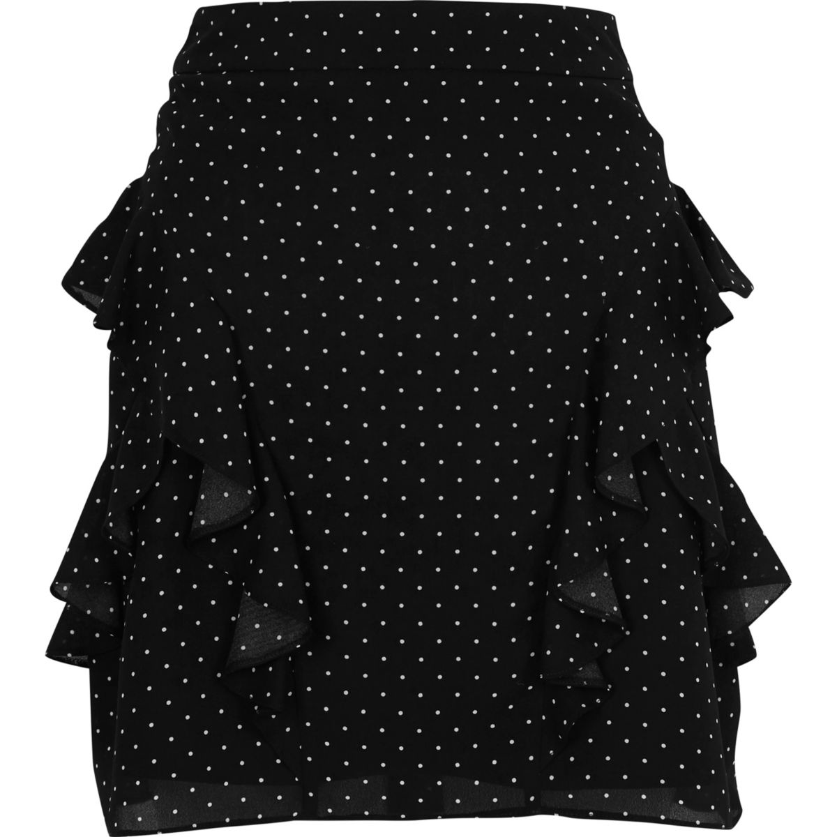 Black polka dot frill mini skirt