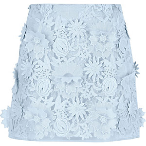 Light blue 3D floral lace mini skirt